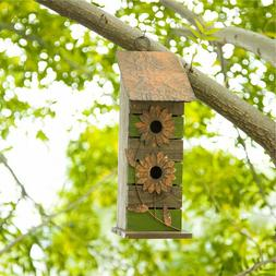 """Glitzhome 14.5""""H Hanging Two-Tiered Wood Flowers Birdhouse B"""