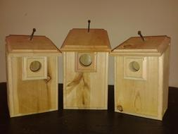 3 CEDAR Bird Houses 1 Bluebird, 1 Wren, 1 Chickadee Easy to