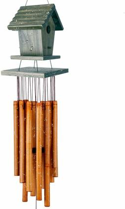 36'' Wind Chime Bamboo Wooden Birdhouse Décor For Outdoor &