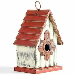 "Glitzhome 9.06"" Antique Hand Painted Wood Birdhouse Decorati"