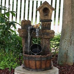 Sunnydaze Bird House Leaking Pipe Outdoor Water Fountain wit