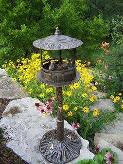 Bird House with Sun God Roof & Perched Birds