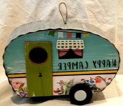 Birdhouse Camper Rustic Replica Wooden Ribbed Tin Top Sides