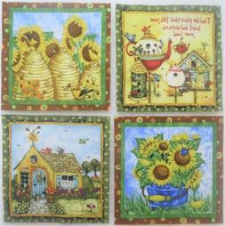 """Birdhouse Cottage Bee Skep Puppy Fabric Sunflowers 5"""" quilt"""