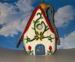 Birdhouse Hand Felted Wool Hand Crafted Alpine Chalet Wild W