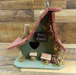 Birdhouse Rustic Love Shack Wood Cabin Bird House with Clean