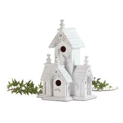 Birdhouse Shabby Distressed White Wood Victorian Bird House