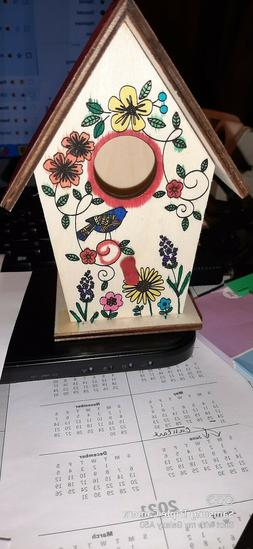 Birdhouse Soft Wood handpainted by me Small sits/can hang de