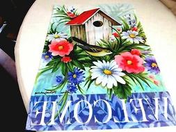 "Birdhouse Welcome Garden Flag Size: 18"" H x 12.5"" W Great fo"