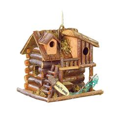 BIRDHOUSES: Gone Fishin' Cabin Wood Bird House Outdoor Decor
