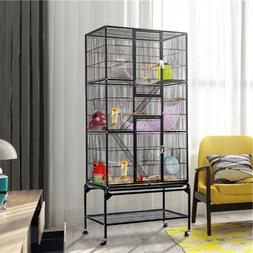 Black Extra Large Bird Parrot Cage W/ Detachable Stand Outdo
