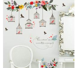 colorful birdcages birdhouse removable wallpaper decals