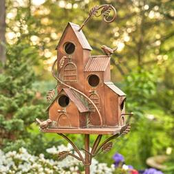 Copper Colored Multi-Birdhouse Stakes, Room for Multiple Bir