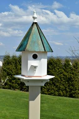 Copper Patina Roof Vinyl One Apartment Bird House 24 inches