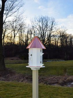Copper roof Birdhouse Amish handmade handcrafted 6 holes 30
