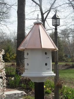 Handmade Copper Roof Birdhouse With Eight Nesting Compartmen