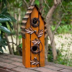 Glitzhome Fall Autumn Wooden Rustic Birdhouse Hanging Bird N