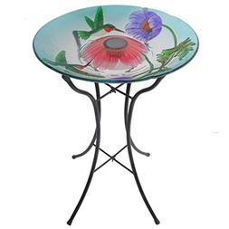 Peaktop Outdoor Garden Solar Hummingbird Glass Bird Bath