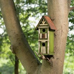 Glitzhome Handmade Wood Hanging Two-Tier Birdhouse Bird Feed