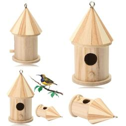 Hanging Wooden Bird House For Outdoor Small Pet Birds Mini N
