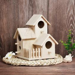 house shaped wooden birdhouse hanging nest cage