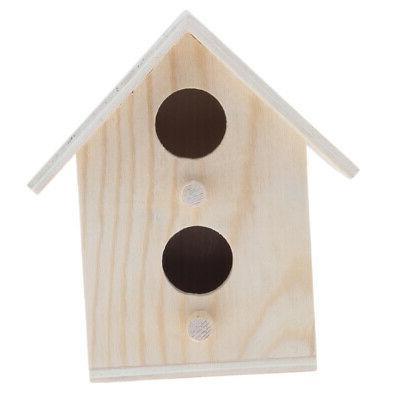 birdhouse cage rough wood perch hut wooden