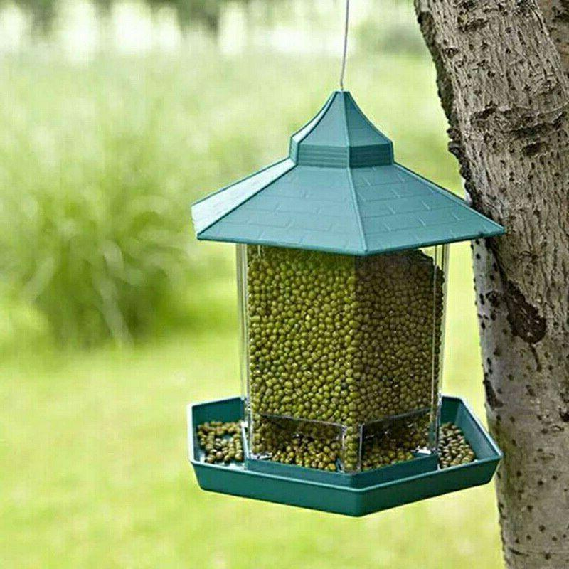 Hanging Bird Feeder Birdhouse Container Wild Seed Clear Outd