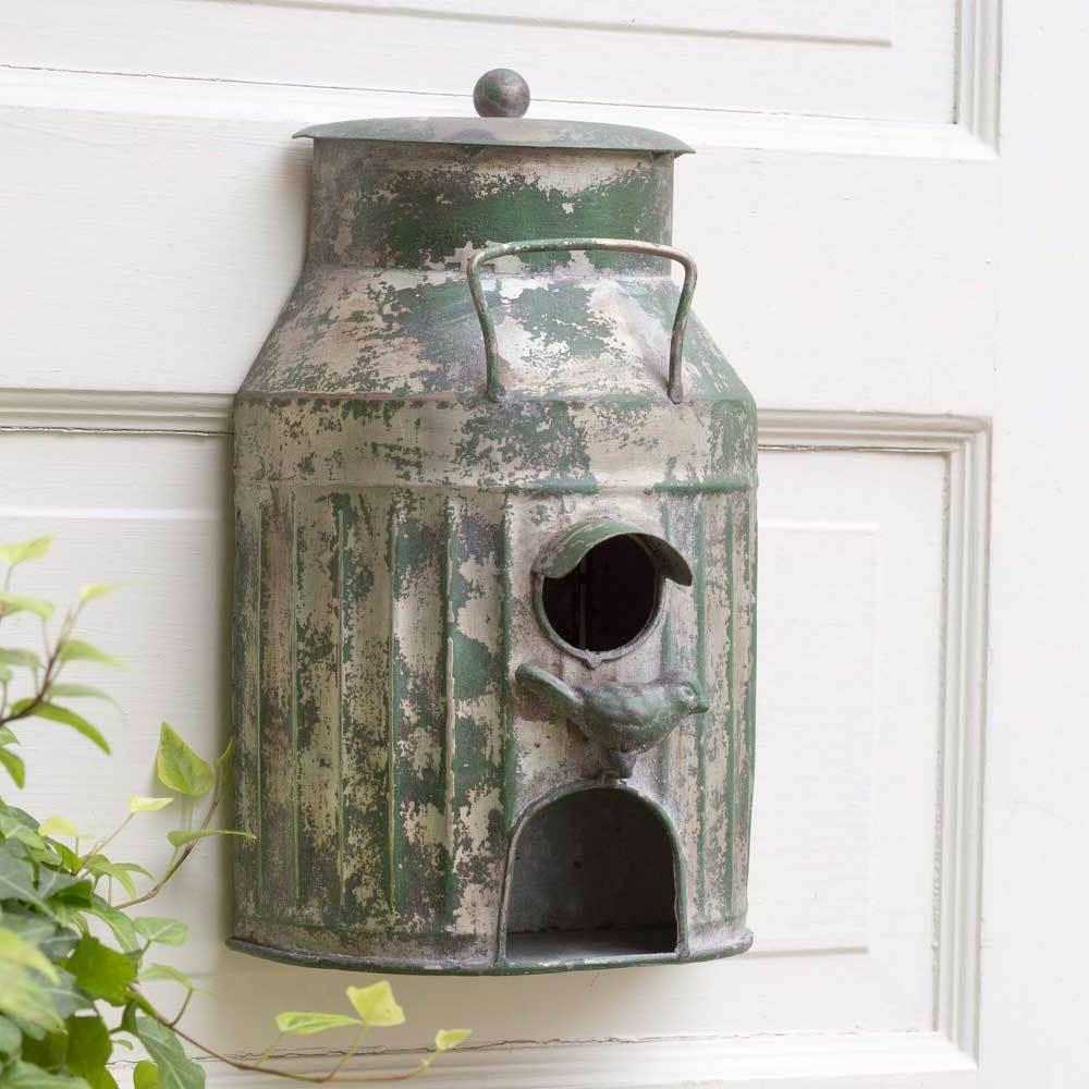 Rustic Metal Wall Mount Milk Can Birdhouse Country Style Gar