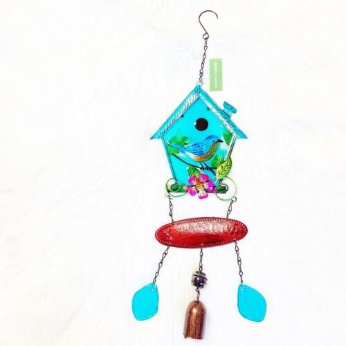 turquoise welcome bird house wind chime nwt