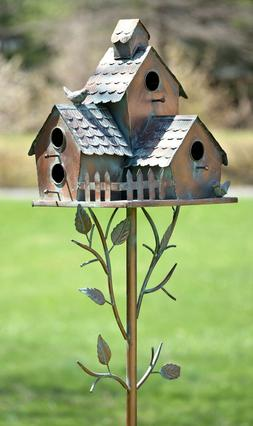 Large Copper Colored Multi-Birdhouse Stakes, Room for 4 Bird