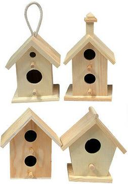 Creative Hobbies Mini 4 Inch Tall Birdhouse, Set of 4 Styles