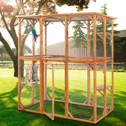 Large Wooden Outdoor Cat Dog Enclosure with 6 Platforms and