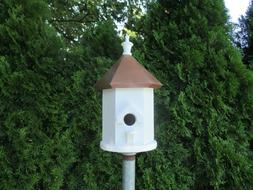 PAINTED COPPER ROOF BIRD HOUSE