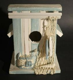 Small Shabby Chic Nautical Style Bird House-with fish, net a