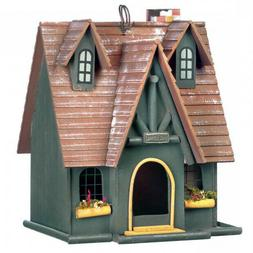 Storybook Cottage Birdhouse with Chimney, Flower Boxes & Tha