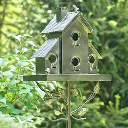 Tall Classic Style Galvanized Bird House Stake with Short Ch