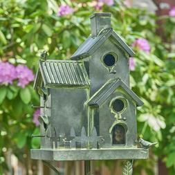 Tall Galvanized Condo Bird House Stake with Fence - New Hope