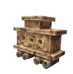 Train Caboose Bird House with Twisted Rope Hanger & Clean Ou
