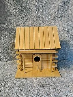 Unfinished Wooden Log Cabin Birdhouse-NEW