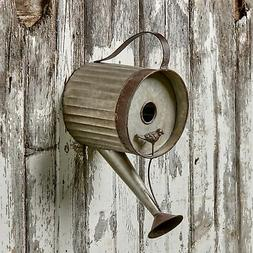 Watering Can Birdhouse - Distressed Metal Bird House for Han