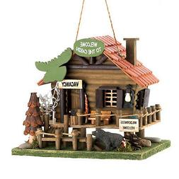 Welcome Cabin Log House Woodland Theme Birdhouse Garden Wood