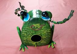 Whimsical Metal Green Frog Hanging  Birdhouse for Decoration